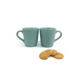 Blue Plain Mug - Set of 2