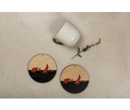 Bare Neccesities coaster (Black + Orange) - Set of 2