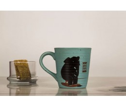 Ceramic Printed Mug - Elephant in the Room (Blue)